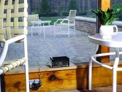 Sonic and Ultrasonic Pest Repellent Device on Patio